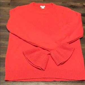 J Crew orange bell sleeve sweater size XS